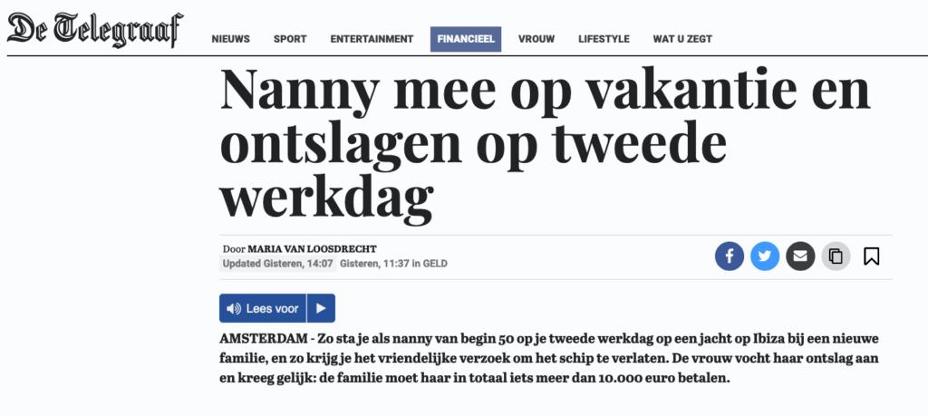 ontslag nanny advocaat amsterdam