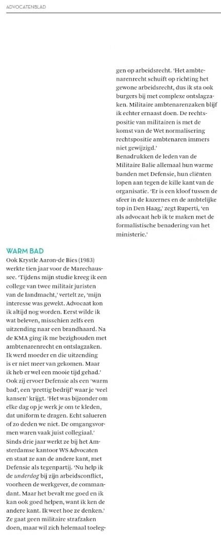 Krystle Aaron de Bies advocaat Amsterdam